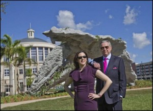 Armando Codina (at right) and Ana Codina Barlick at their Downtown Doral development on Monday December 9, 2013, in front of a centerpiece sculpture near Doral City Hall by acclaimed artist Michele Oka Doner. Downtown Doral is a Codina Partners development that promises to bring an upscale element to the suburbs. (PHOTO CREDIT: PATRICK FARRELL MIAMI HERALD STAFF)