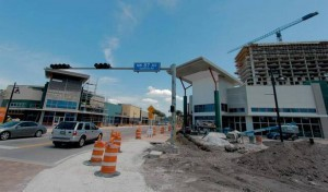 Downtown Doral's 5252 Paseo building, currently under construction, looks over Northwest 53rd St., which is set to be the home to restaurants and retail shops. Photo taken on Wednesday, March 25. (PHOTO CREDIT: NICK SWYTER MIAMI HERALD STAFF)