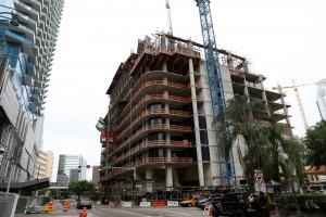 The SLS Lux in Brickell is across from a Metromover station