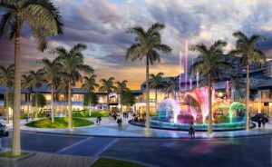 The central section of CityPlace Doral will include a pedestrian mall and a Vegas-style fountain.
